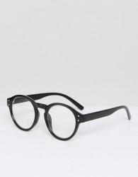 AJ Morgan Retro Round Glasses In Black - Black