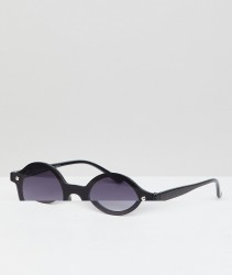 AJ Morgan Rimless Round Sunglasses In Black - Brown