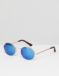 AJ Morgan Round Sunglasses With Blue Mirror Lens - Gold