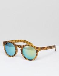 AJ Morgan Round Tortoise Sunglasses With Green Lens - Brown