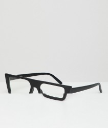 AJ Morgan Square Clear Lens Glasses In Black - Black