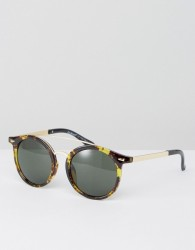 AJ MorganTortoiseshell Sunglasses With Brow Bar - Brown