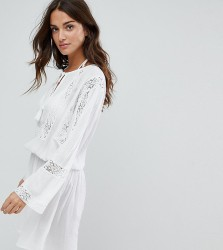 Akasa Crochet Smock Beach Dress - Cream