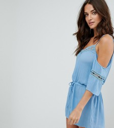 Akasa Crochet Trim Cold Shoulder Beach Playsuit - Blue