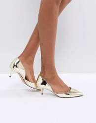 ALDO Adylia Kitten Heel Pointed Shoe in Gold - Gold