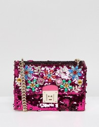 ALDO All Over Sequin Cross Body Bag with Floral Gem Embellishment - Pink