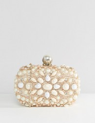 ALDO Beaded Box Clutch With Pearl Clutch Bag - Gold