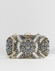 ALDO Black & Metallic Beaded Box Clutch Bag - Gold