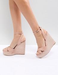 ALDO Cross Strap Wedge Shoe with Textured Heel - Pink