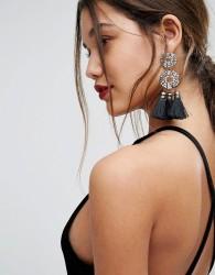 ALDO Crystal and Tassel Drop Statement Earrings - Multi