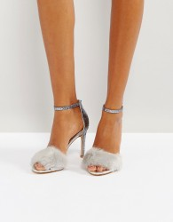 ALDO Fiolla Faux Fur Heeled Sandals - Silver