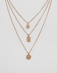 ALDO Gold Multirow Necklace With Geometric Pendants - Gold