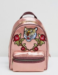 ALDO Grawn Satin Backpack with Tiger & Rose Patches - Green