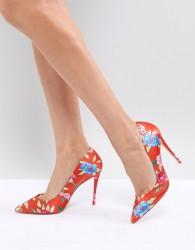 ALDO Heeled Court Shoe in Red Floral Print - Orange
