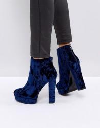ALDO Kasser Velvet Platform Boots - Blue