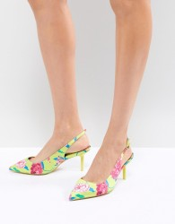 ALDO Kitten Heel Sling Back Shoe in Bright Yellow Floral - Green