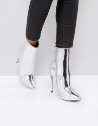 ALDO Loreno Metallic Point Ankle Boots - Silver