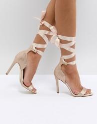 ALDO Mirilian Glitter Satin Tie Ankle Strap Shoe - Gold
