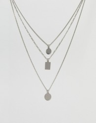 ALDO Silver Multirow Necklace With Geometric Pendants - Silver