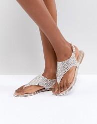 ALDO T Bar Sandal with Diamante Gems - Gold