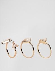 ALDO Taleclya 3 Pack Gem Rings - Gold