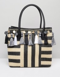 ALDO Taurano Tassel Straw Bag - Multi