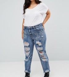 Alice & You Boyfriend Jeans With Distressing And Gem Embellishment - Blue