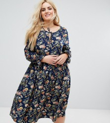 Alice & You Long Sleeve Floral Midi Dress With Frill Sleeve And Tie Neck - Multi
