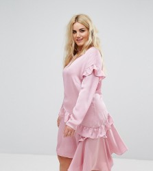 Alice & You Long Sleeve Shift Dress With Ruffle Layers - Pink