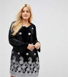 Alice & You Long Sleeve Swing Dress In Velvet With Premium Metallic Embroidery - Black