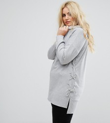 Alice & You Longline Step Hem Hoodie With Lace Up Sides - Grey