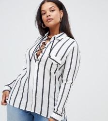 Alice & You Plus Stripe Shirt - White