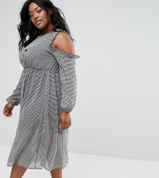 Alice & You Ruffle Cold Shoulder Tea Dress In Gingham - Black