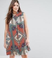 Alice & You Sleeveless Printed Swing Shirt Dress - Multi