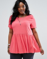 Alice & You Woven Top With Ruffle Hem - Pink