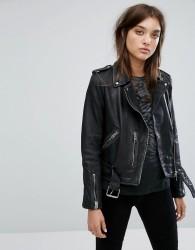 All Saints Vintage Leather Balfern Biker Jacket - Black