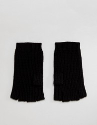 AllSaints Abel Fingerless Gloves In Merino Wool Blend - Black