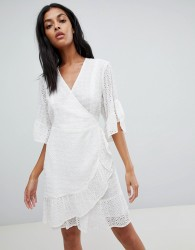 AllSaints broderie wrap mini dress - White