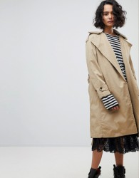 AllSaints Classic Mac with Borg Collar - Brown