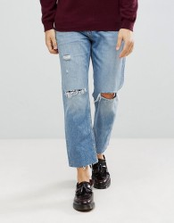 AllSaints Danvers Sid Jeans In Straight Fit With Rips - Blue