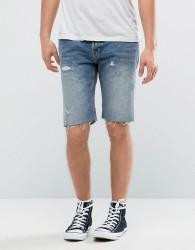 AllSaints Denim Short With Distressing - Blue
