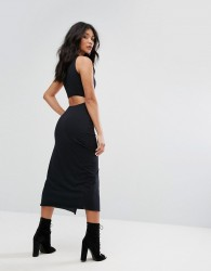 AllSaints Dress with Thigh Split in Black - Black