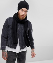 AllSaints Fen Beanie And Scarf Giftset In Lambswool Blend - Black