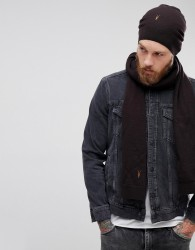 AllSaints Fen Beanie And Scarf Giftset In Lambswool Blend - Red