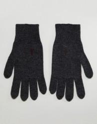 AllSaints Fen Lambswool Blend Gloves In Charcoal - Grey