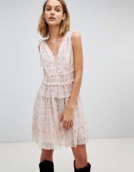 AllSaints floral ruffle mini dress - Pink