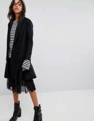 AllSaints Grace Coat with Asymmetric Skirt - Black