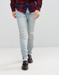 AllSaints Ine Cigarette Jeans In Skinny Fit With Rips - Blue