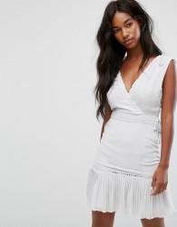 AllSaints Keena Pleat Dress - Grey