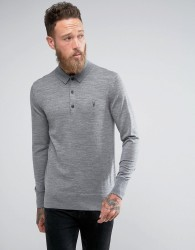 AllSaints Knitted Polo Shirt In 100% Merino Wool - Grey